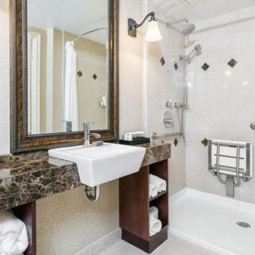 Marble and contrasting handicap bathroom