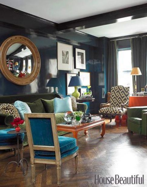 Miles Redd lacquered walls and green velveet sofa via HB