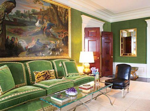 Tory Burch Green Velvet Sofa 1
