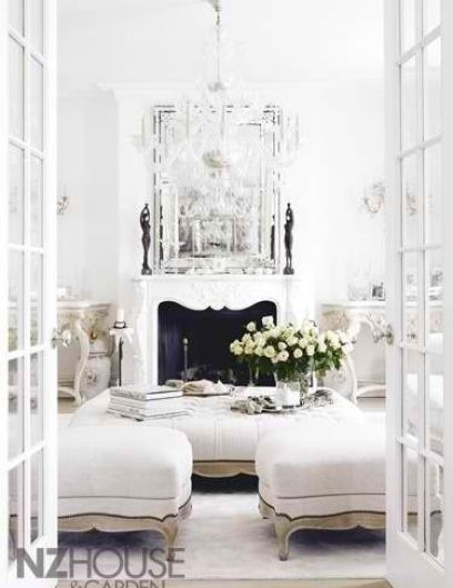 White living area via New Zealand House and Garden