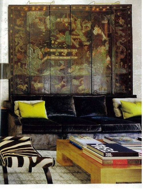 Windsor Smith velvet sofa with screen via AD