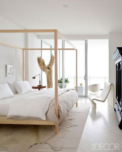 more modern touches are visible in this miami bedroom by carter i love his ability to make a white room have so much depth photo source elle decor - Elle Decor Bedrooms