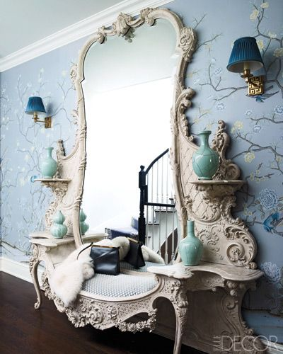 Incredible benched mirror by Celerie Kemble via Elle Decor