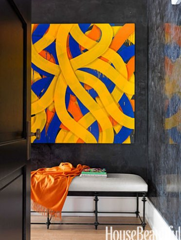 Sara Sosnowy painting in apartment by Jamie Drake via HB