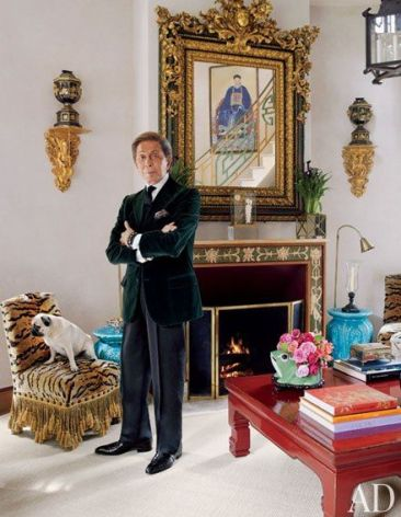 Valentino with one of his pug in AD