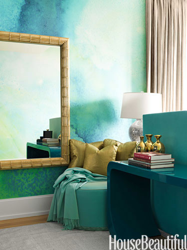 Watercolor wallcovering in room by Jamie Drake via HB