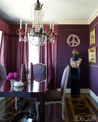 A dining room in Plum in Elle Decor