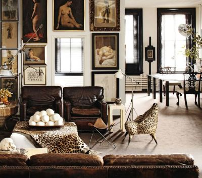 A masculine and leather hideaway via Elle Decor