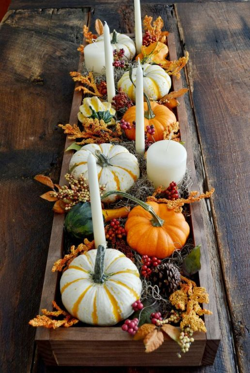 A planters boc of Thanksgiving decor via Babble