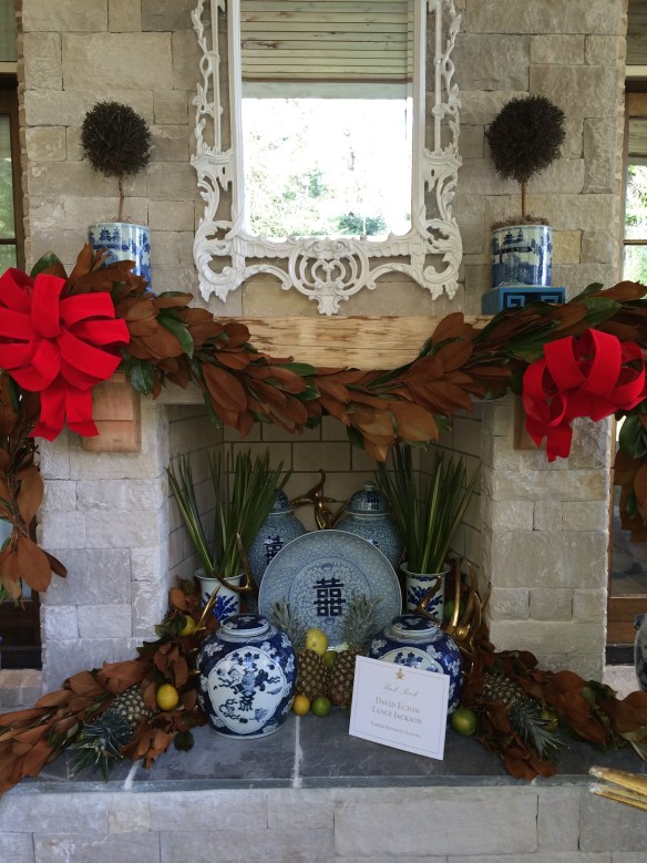 An outdoor mantle at the Atlanta Holiday House by Parker Kennedy Living