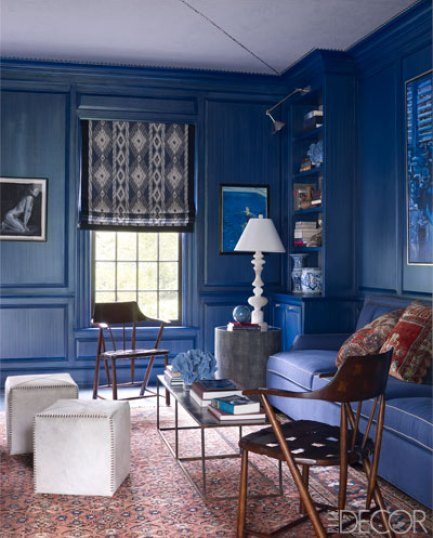 Blue library in this Connecticut home by Thom Filicia via ED