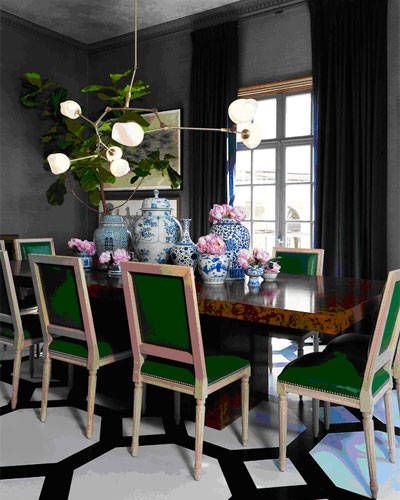 Green leather dining chairs via Elle Decor