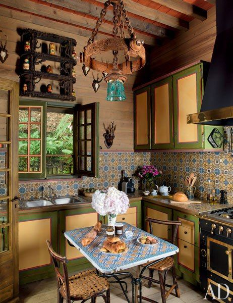 Normandy kitchen of Pierre Berge by Jacques Grange via AD