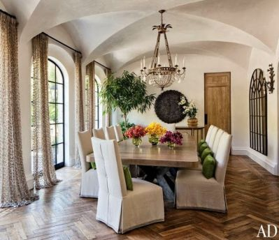 Tom Brady and Gisele Bundchens LA dining room with herringbone floors via AD