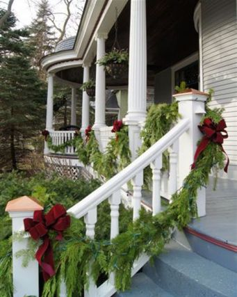 Garland and Bows via Traditional Homes