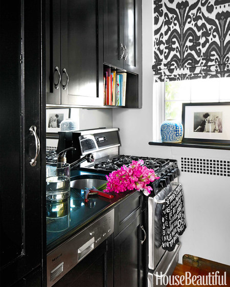 A Window Shade Of Black And White Fabric As Well Pop Blue Brighten This Small Kitchen Manhattan Bedroom By Lilly Bunn