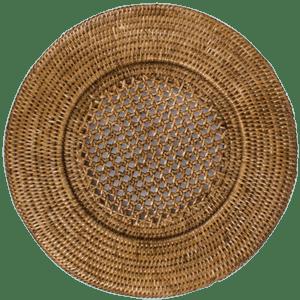Rattan Round Charger by Caspari