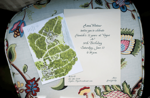 Anna Wintours Invitation to Hamish Bowles 50th Birthday