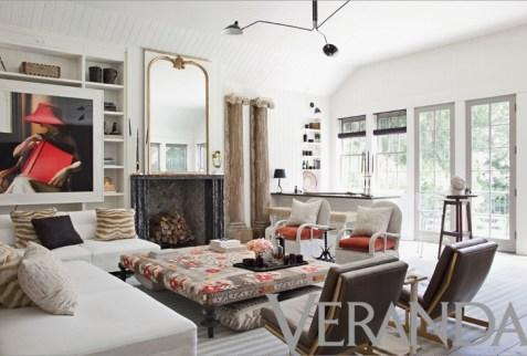 Large upholstered coffee table bu Windsor Smith via Veranda