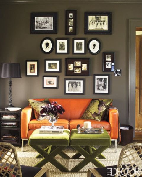 Ottoman as coffee table via Elle Decor