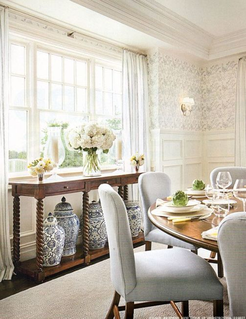 Serene dining area by Alexa Hampton