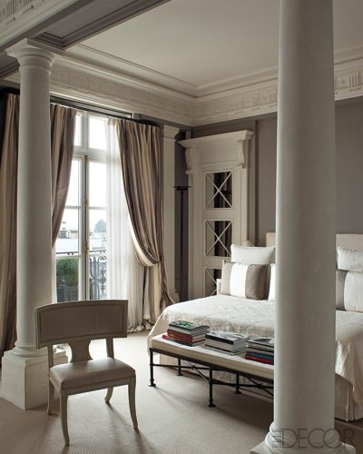 Fredderic Mechiche has columns in the bedroom via Elle Decor