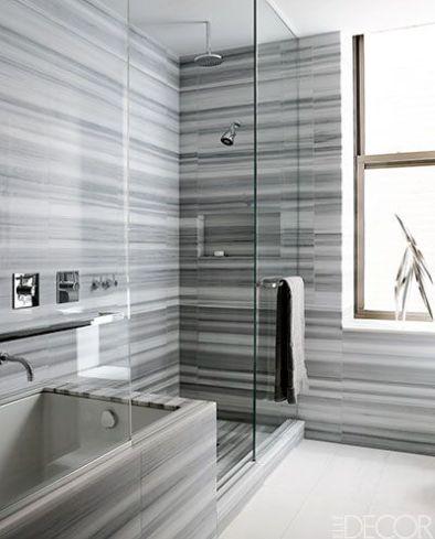 Heavenly Gray and White bathroom via Elle Decor