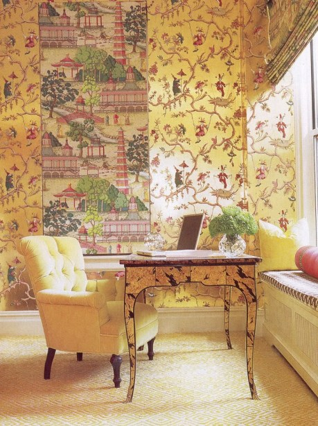 Philip Gorrivanwallpapered room