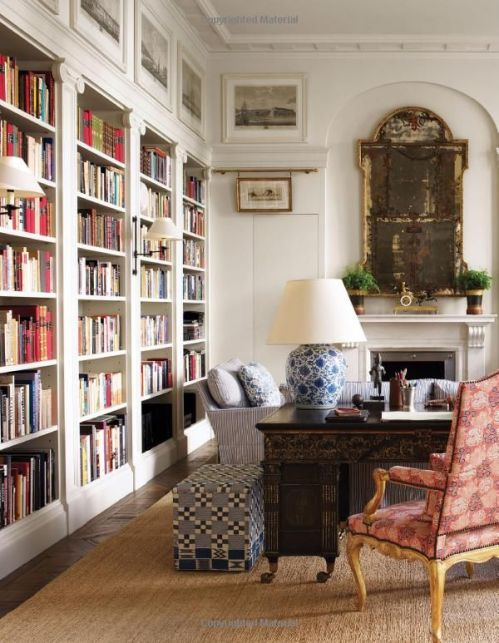 Sconces on Bookshelves via Elle Decor The Height of Style