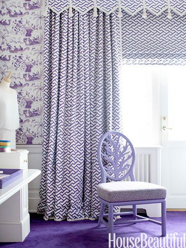 A purple toile in the Scandavian Home of Nicolette Horn via House Beautiful