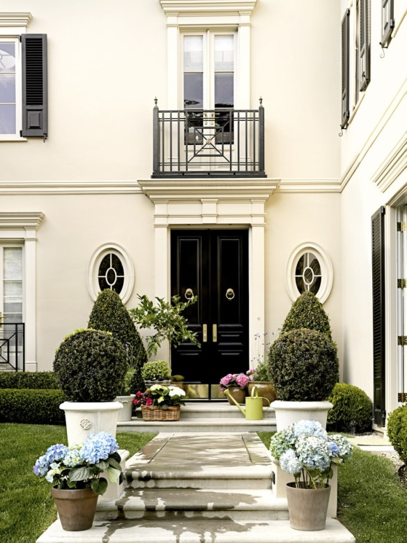 Babrabra Baryr's Beverly Hills Home entry complete with potted boxwood