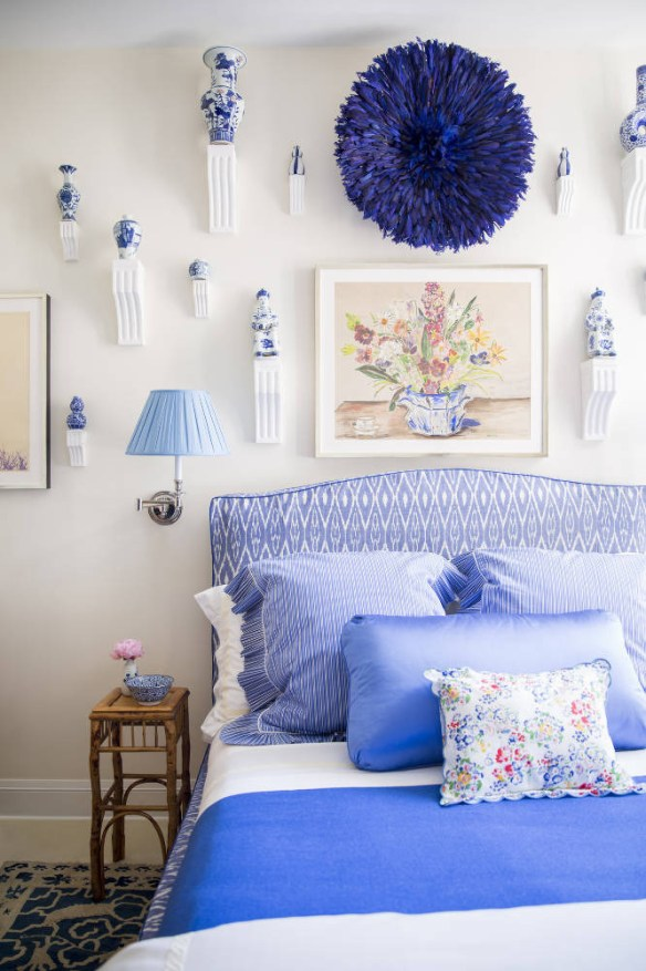Blue and white bedroom by Nick Olsen via Domino