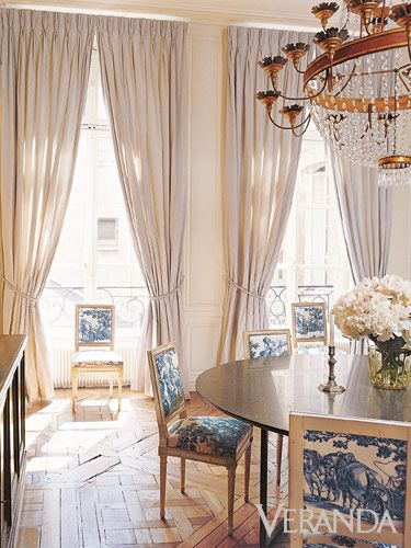 Blue and white toile chairs in dining room via Veranda