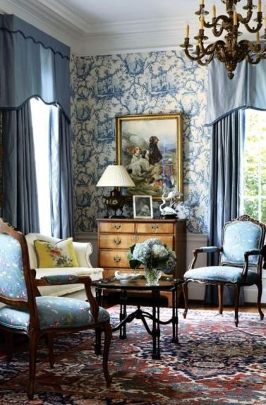 Blues onBlues in this toile sitting area