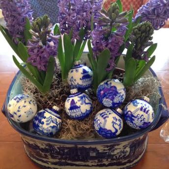 Chinoiserie Ornaments in a pot of Hyacinths by Dana Mahnke on Etsy Indigo Home