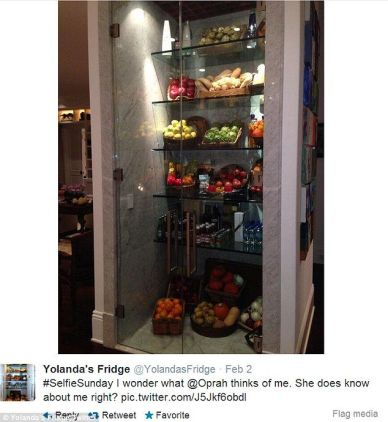 Yolana Fosters Glass Fridge via her instagram