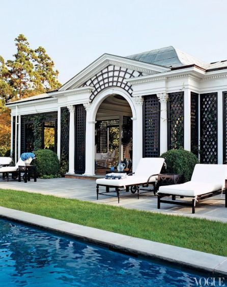 lattice work on tory burch hampton home via Vogue