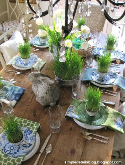 Blue Green and White Tablescape