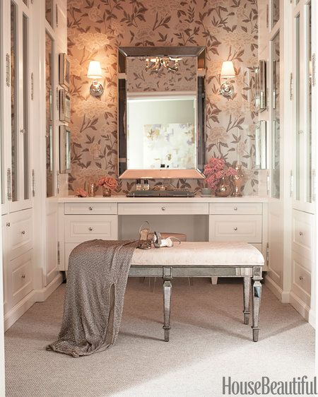 Schumachers Wallpaper in this femine closet via House Beautiful