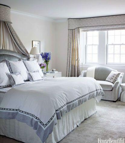 Soft and inviting bedroom by Sara Gilbane Interiors via House Beautiful