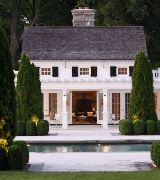 Cypress Trees and Topiaries in the pool house