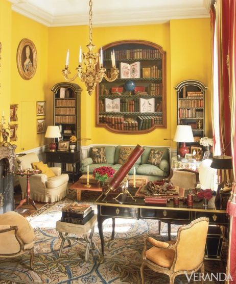 Henri Samuel and Susan Gutfreund designned this yellow living room