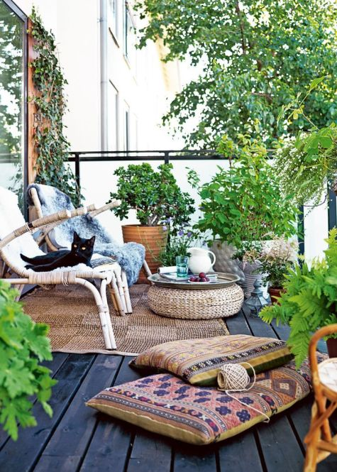 Rattan outdoor funiture via Elle Decor