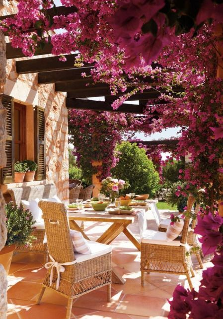 bougainvillea patio at the home of Amador Calafat-Busquets in Mallorca