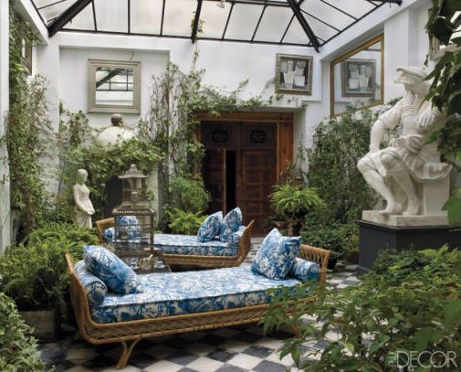 Beautiful indoor garden room via Elle Decor
