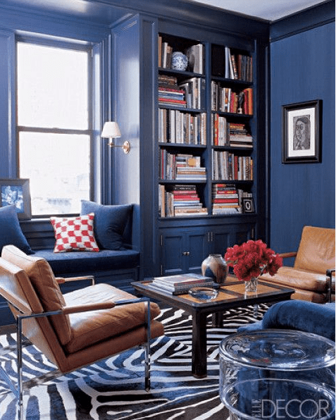 Navy den via Elle Decor