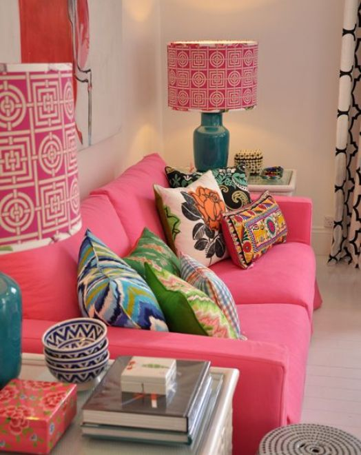 Pink Sofa at Black and Spiro via Where My Heart Is