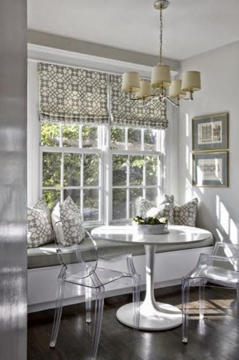 Gray and White window seat via Elle Decor