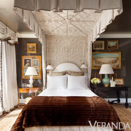Alexa Hampton bedroom with fur via Veranda