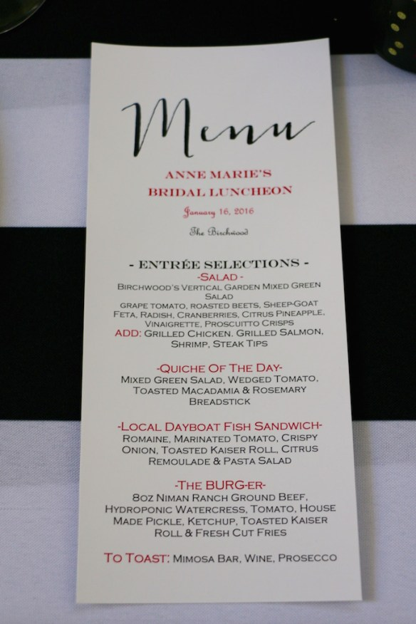 Bridal Shower Menu from Etsy